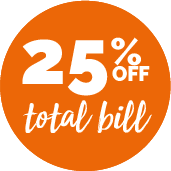 25% off total bill